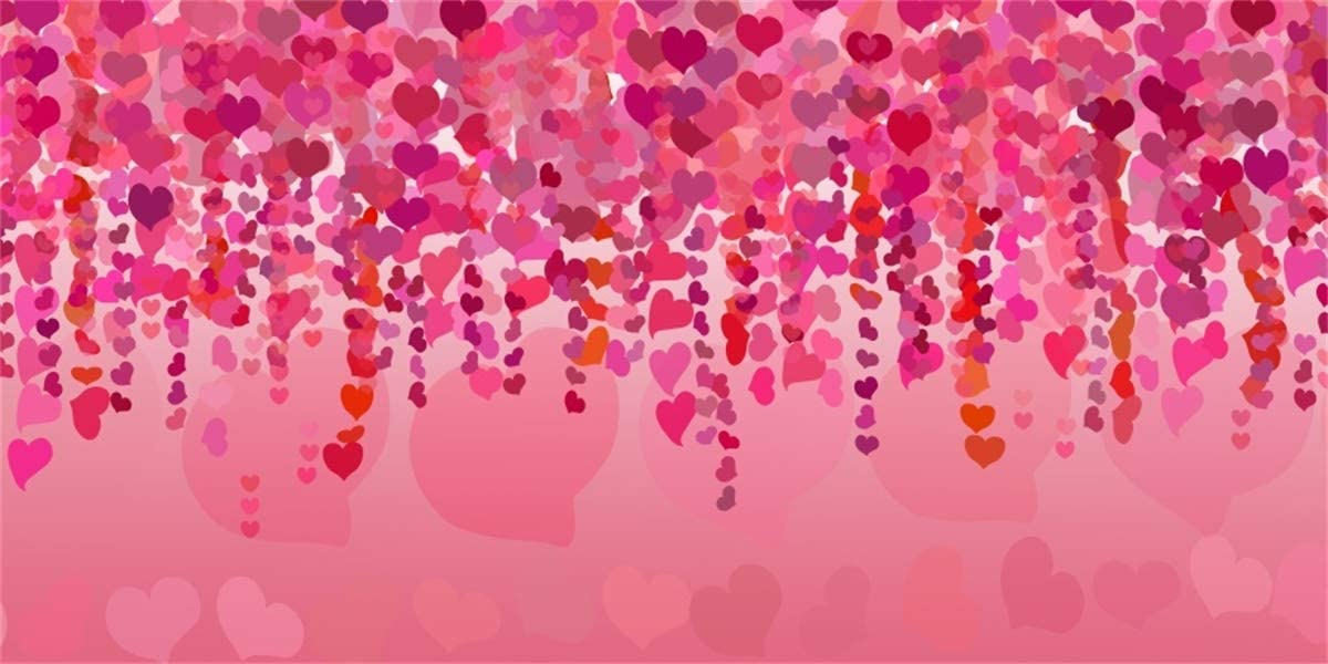 Yeele Pink Red Hearts Backdrop Wedding Bridal Shower Valentines Day Decoration Photography Background Lovers Girls Artistic Portrait 20x10ft Wedding Events Photo Booth Photoshoot Props Wallpaper