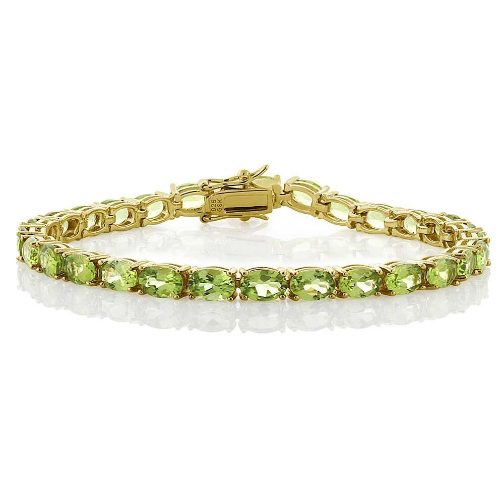 Gem Stone King 12.00 Ct 18k Yellow Gold Plated Sterling Silver Peridot Gemstone Birthstone Women's Tennis Bracelet, 7 inches by Gem Stone King