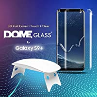 Dome Glass (2 Pack) Galaxy S9+ Plus Screen Protector Tempered Glass Shield, Full Screen Coverage 3D Curved [Liquid Dispersion Tech] Easy Install Tray and UV Light by Whitestone for Samsung Galaxy S9+ by Dome Glass