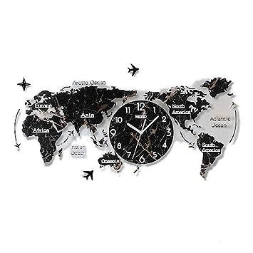 TXXM® Weltkarte Uhr Wand wanduhr modern Wohnzimmer große wanduhren wanduhr  3D Weltkarte groß L74CM * H34CM (Farbe : Marmorimitat,Schwarz)