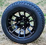 12'' LIZARD Black Aluminum Golf Cart Wheels and 215/40-12 Low Profile DOT Golf Cart Tires Combo - Set of 4