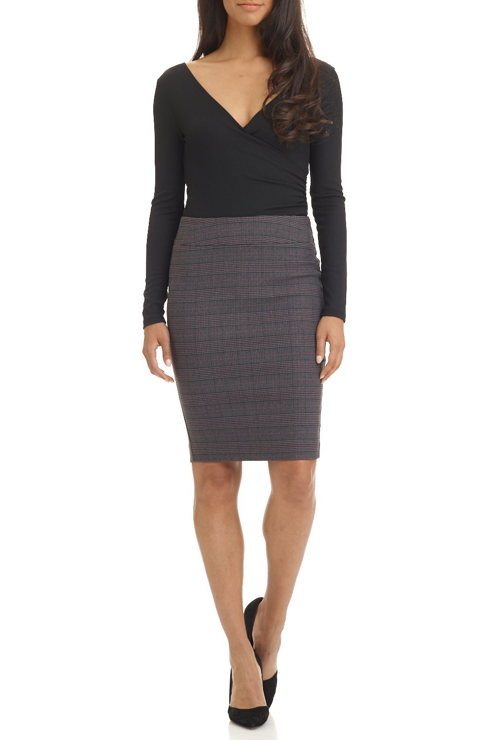 Rekucci Women's Ease in to Comfort Fit Perfect Midi Pencil Skirt (Medium,Charcoal/Wine)