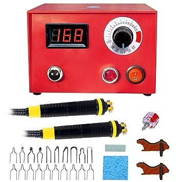IDABAY Máquina de prensado de pirograbado de temperatura ajustable con quemador de madera profesional Soldadura de hierro Kit de herramientas Máquina de ...