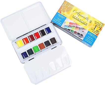 Sennelier Aquarellfarben Metall Tin Von Pocket - Estuche de acuarelas (12 medios godets): Amazon.es: Oficina y papelería