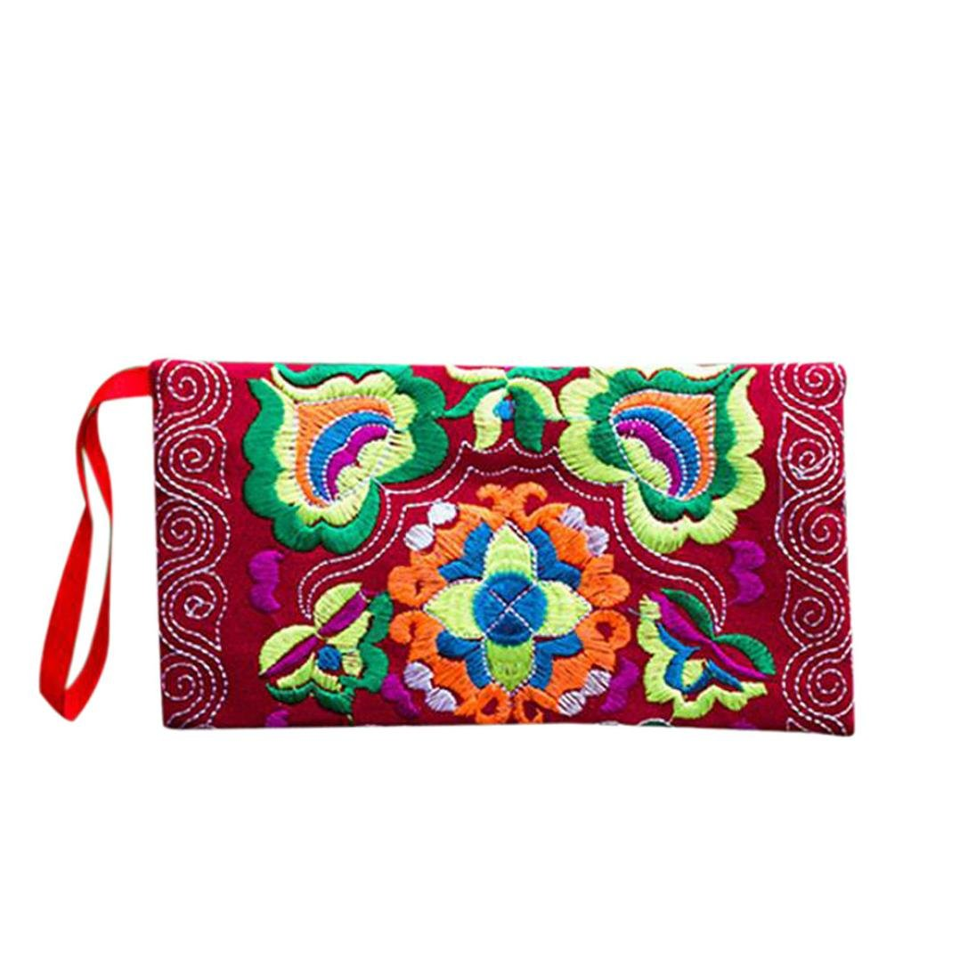 Wallet,toraway Women Ethnic Handmade Embroidered Wristlet Clutch Bags Vintage Purse (Red)