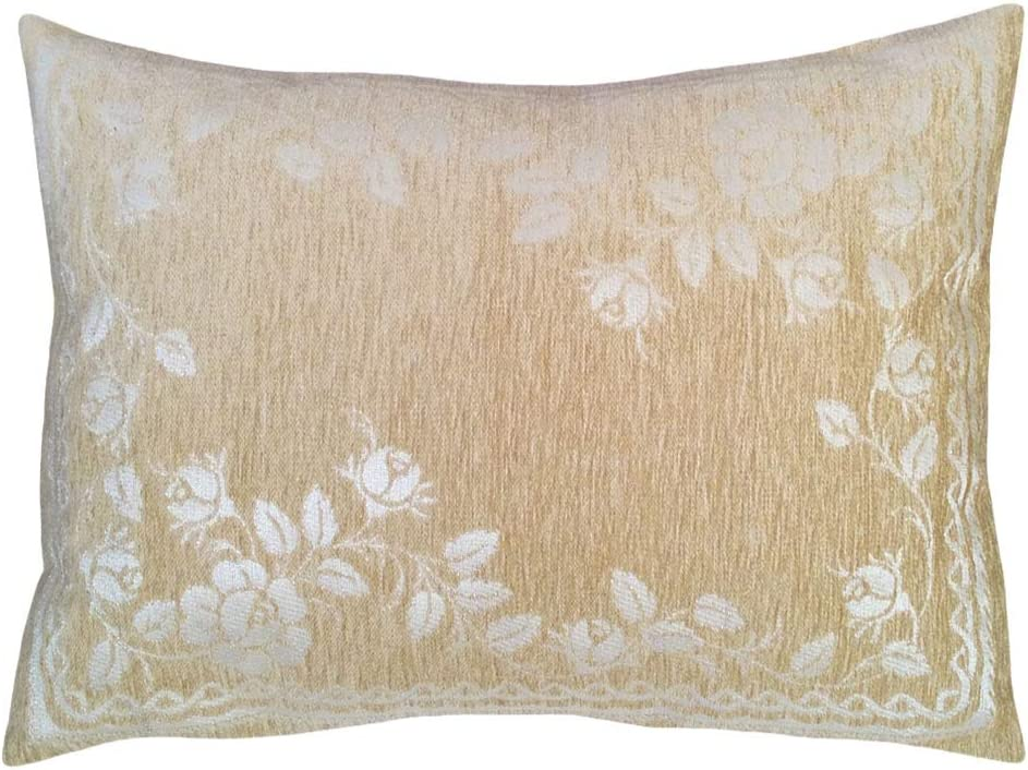 "2 pcs Chenille Cream Floral Pattern 22""x30"" Pillow Case/Cushion Cover - Queen Size, Lumbar, Cream Rose Flowers Solid Sham for Patio, Farmhouse, Belvedere House, Garden, Treehouse"