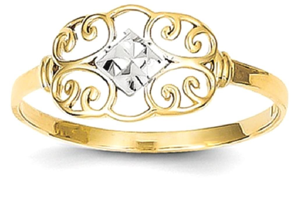 ICE CARATS 14k Yellow Gold Filigree Band Ring Size 6.00 Fine Jewelry Gift Set For Women Heart