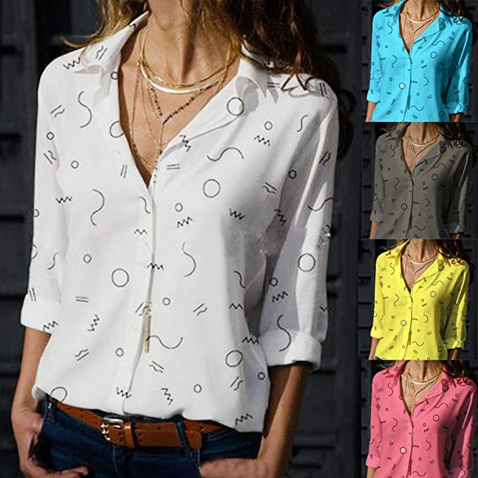 LINKIOM Fashion Women Casual Cold Shoulder Printed Short Sleeve Loose Chiffon Tops