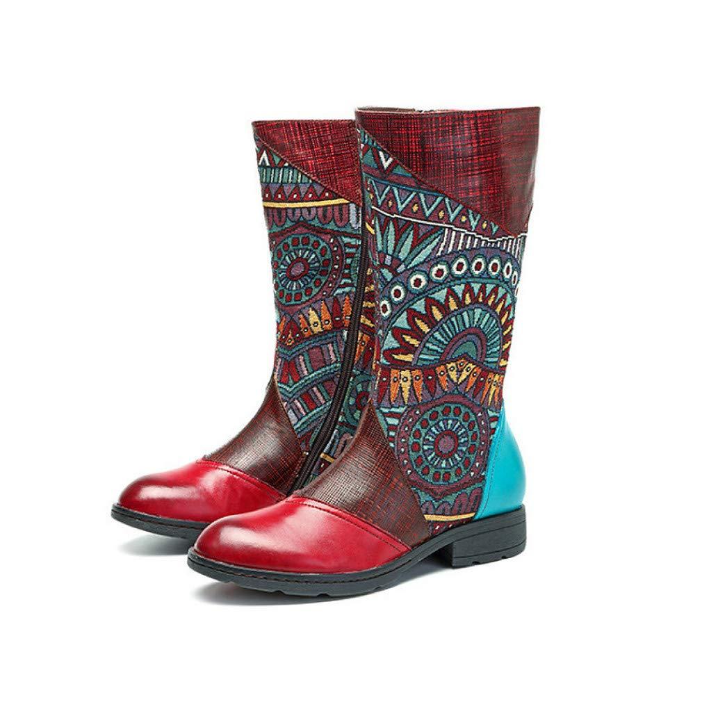 schuheHAOGE Damen Comfort Schuhe Schuhe Schuhe Nappaleder Herbst & Winter Vintage Stiefel Low Heel Stiefel Rot 96ef5d