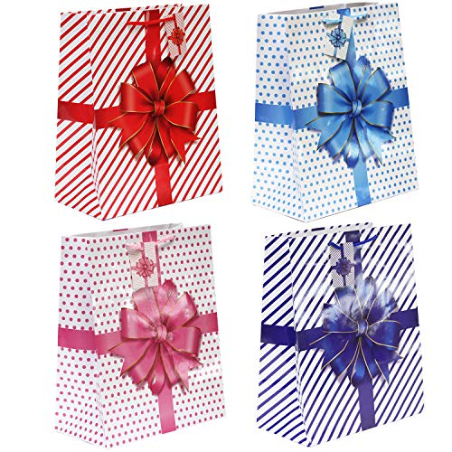 12 Counts 4 Color Assorted Gift Bags for