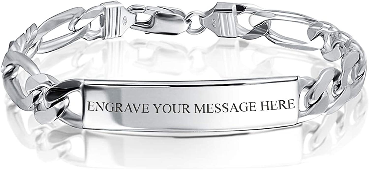 Heavy Strong Figaro Link Bar Plate ID Bracelet For Men Name Engravable 925 Sterling Silver Made In Italy Custom Engraved