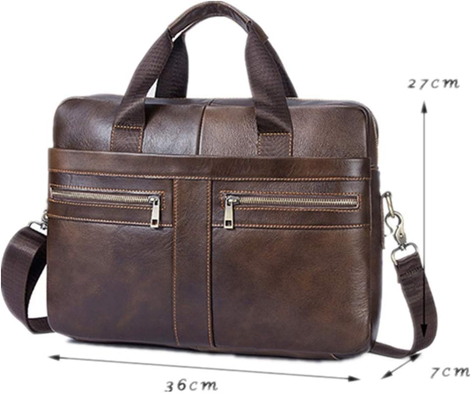 DHUYUN Mens Briefcase Mens Solid Color Laptop Briefcase Messenger Bag Tote for Business Travel Business Travel Color : Brown, Size : Free Size