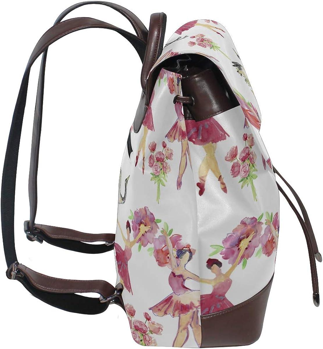 Cute Ballerina Dancing Leather Backpack Backpack Bag Leather Drawstring Waterproof Fashion Womens Bag Fashion Shoulder Bag For Women