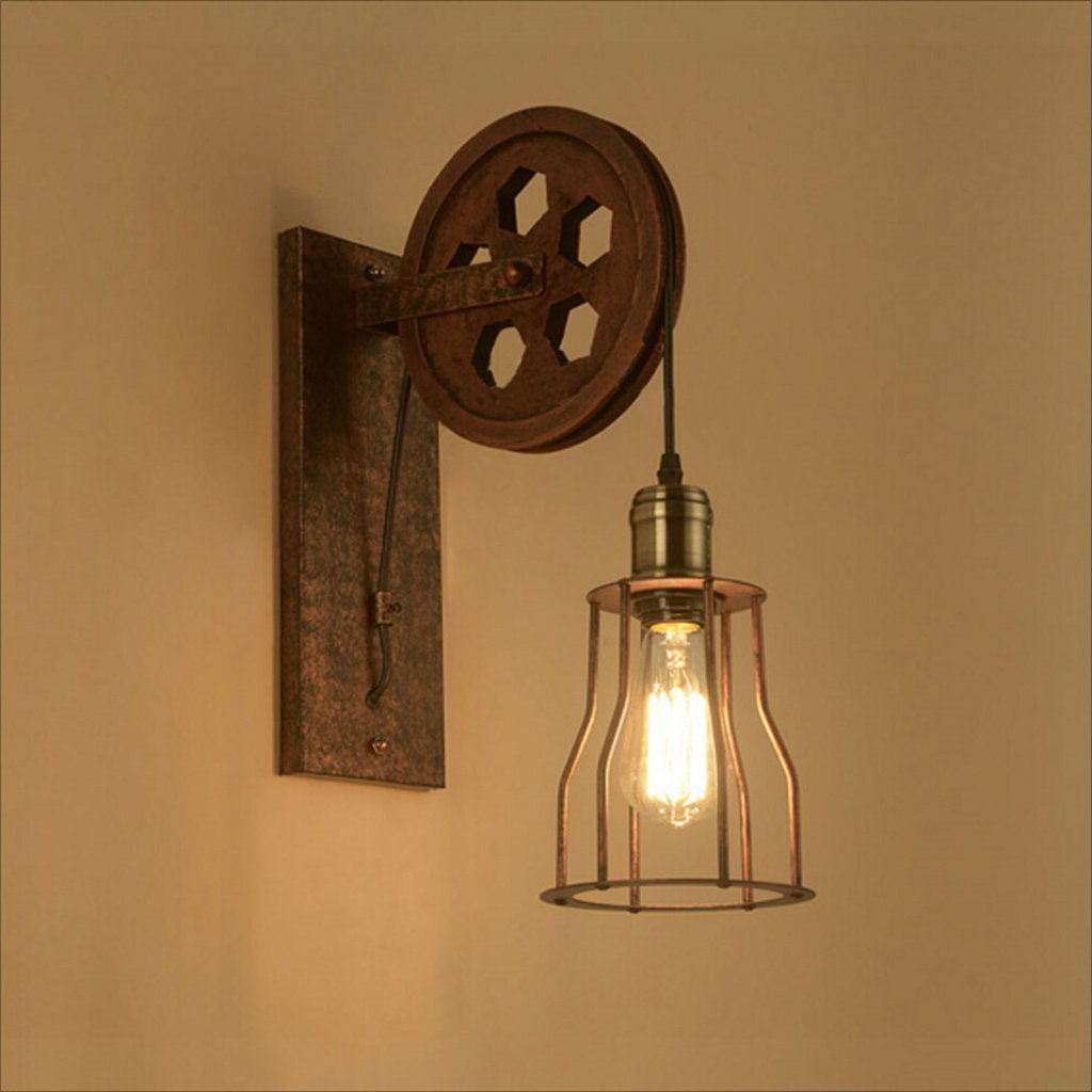 Tools & Home Improvement/Lighting & Ceiling Fans Vintage Industrial Brass Wall Sconce Edison Lamp Retro Vintage Wall Lights Adjustable Brass Finished Copper Head with E27 Socket for House A+