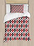 Lunarable Casino Duvet Cover Set Twin Size, Classical Game Pattern Gamblers Club Casino Theme Fortune Lucky Winner Poker, Decorative 2 Piece Bedding Set with 1 Pillow Sham, Black White Red