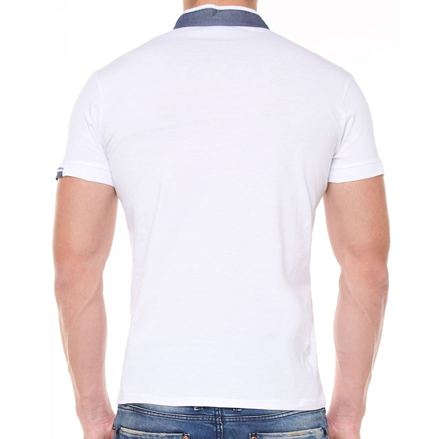 &AMP, Cipo Baxx Line Contrast Men's Denim Shirt with Stand-Up Collar White