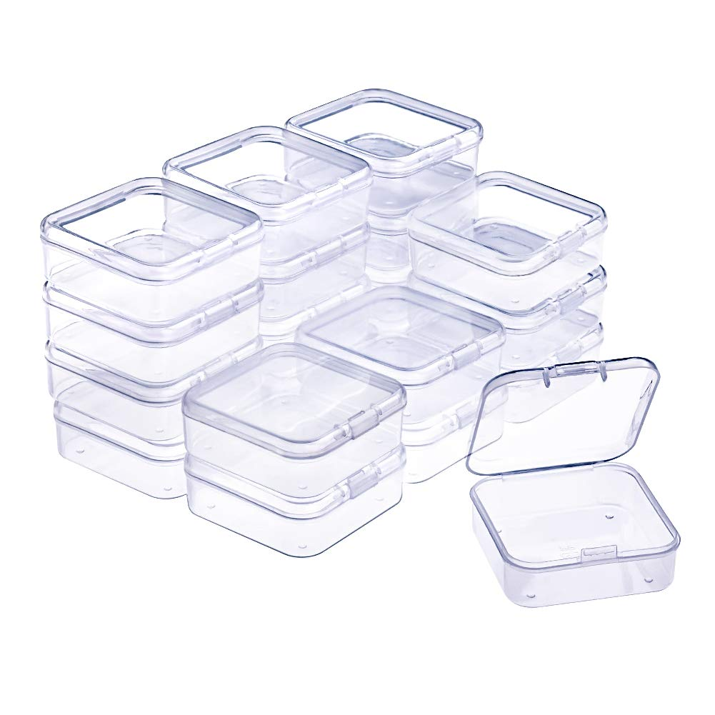 WXJ13 20 Pack Small Rectangle Clear Plastic Box Bead Storage Box with Flip Cover 2.1 x 2.1 x 0.8 Inch
