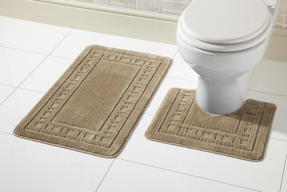 Olivia Rocco Miami 2 Piece Bath Mat & Pedestal Set, Non Slip Bathroom Set (Black)