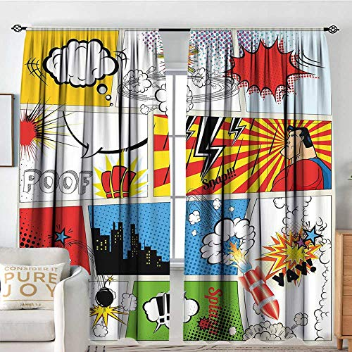 Rod Pocket Drapes Superhero,Comics Template Fiction Fantasy Retro Speech Bubbles Expressions Effects Print,Multicolor,All Season Thermal Insulated Noise Reduce Curtains 100