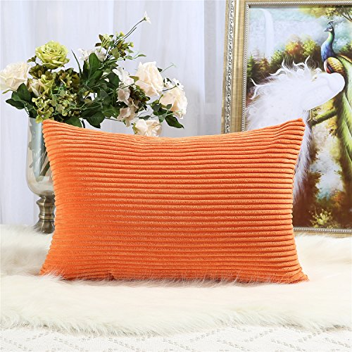 Decorative Striped Corduroy Throw Pillow Covers Cases for Couch Bed Sofa,Supersoft Velvet Cushion Covers for Baby, 12 X 20 (12x12 Corduroy)