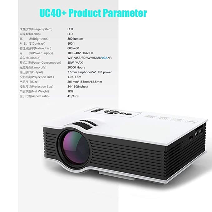 Todfs-Zl Portable Multimedia Mini Proyector LED uc40 + Home Cinema ...
