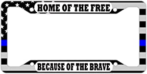 DZGlobal Home of The Free Because of The Brave License Platest Thin Blue Line Flag License Plate Frame Fashion Aluminum Metal Car Tag Cover Holder Auto Cars for Us Standard 4 Hole and Screws