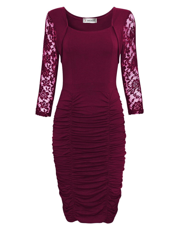 Tom's Ware Damen elegantes Bodycon-Midi-Kleid langaermlig verrucht