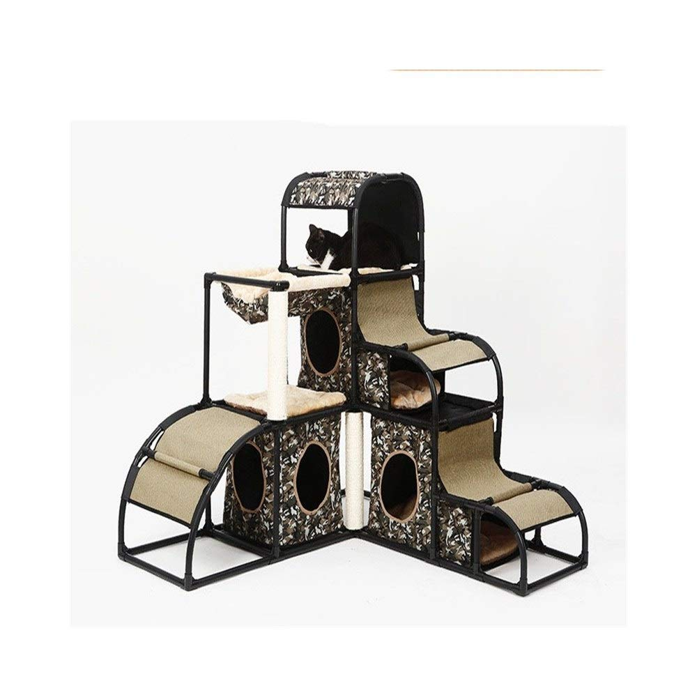 Camouflage PET 55 Cat climbing frame Cat Tree Tower Multifunction Climbing Platform Removable Combination Cat's Nest Strong and steadily (color   Camouflage)