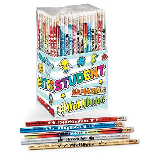 (Hashtag 150-Piece Award Pencil Collection- Includes Media Inspired Messages to Boost Students Confidence)