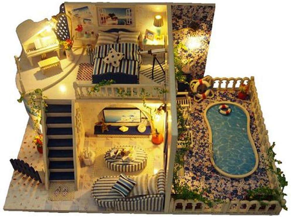 Casa de muñecas Regalo de cumpleaños Juguetes educativos Asamblea de bricolaje Cabaña Santorini Cabina Innovadora
