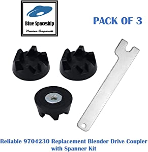 TOOLSCO (3-PACK) Reliable 9704230 Blender Drive Coupling with a Spanner. Replacement Part Fits for KitchenAid Blenders and Replaces 9704230, PS11746921, WP9704230VP