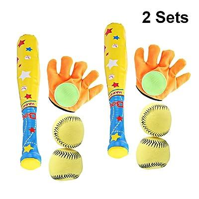 LIOOBO 2 Sets Kids Sports Toys Baseball Palying Tool Kit Educational Toy Glove Ball Baseball Bat Set for Park Daily Festival Shop: Toys & Games