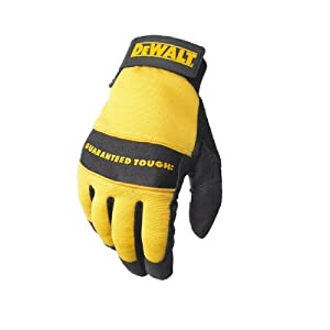 Dewalt DPG20L All Purpose Synthetic Leather Palm Spandex Back Velcro Wrist Work Glove, Large