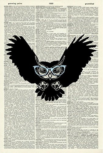 OWL WITH BLUE GLASSES - Whimsical Art - Vintage Dictionary Art Print - Wall Hanging 17E