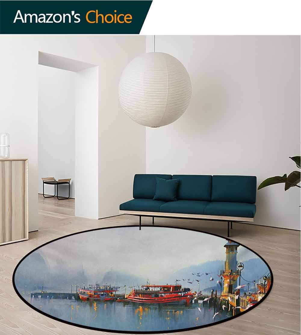 RUGSMAT Country Modern Machine Washable Round Bath Mat,View of A Misty Morning at The Harbor with Boats and Birds in Old Fishing Town Art Non-Slip Soft Floor Mat Home Decor,Round-71 Inch by RUGSMAT (Image #3)