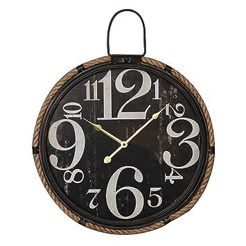MSF Relojes de Pared American Fashion Retro Industrial Style Reloj Negro Blanco Digital Living Room Cuadro de Pared Loft Personalidad Creativa Simple ...