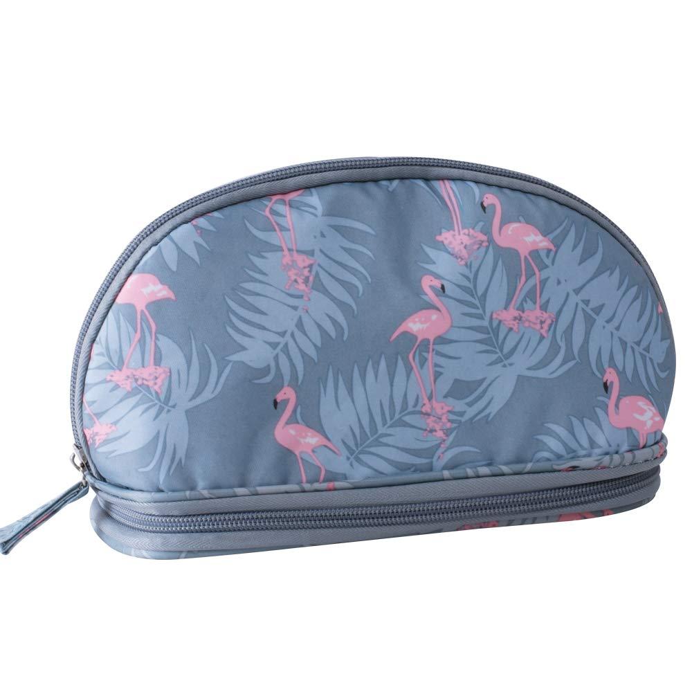 Handy Cosmetic Pouch for Women Waterproof Travel Makeup Bag (flamingos)