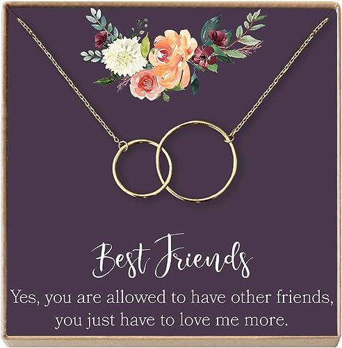 Dear Ava Necklace: BFF Friends 2 Interlocking Circles 2 Interlocking Circles Friends Forever Long Distance Silver-Plated-Brass NA