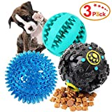 Dog Treat Dispensing Toy,IQ Treat Ball with Squeaker, Rubber Dog Chew Toy Dog