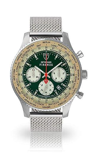 DETOMASO Firenze XXL Reloj Caballero Cronógrafo Analógico Cuarzo Plata Correa Milanesa Esfera Verde DT1045-B