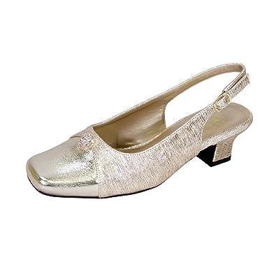 ac563eecbf4 Floral Jolie Women Extra Wide Width Elegant Low Heel Slingback Dress Shoes  Gold 7
