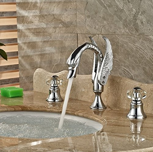 GOWE Chrome Brass Widespread Bathroom Basin Faucet Crystal Handles Vanity Sink Mixer 3