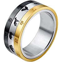 PAMTIER Men's Stainless Steel Spinner Lucky Ring Chinese Lunar Calendar Design Silver Black Gold 3 Color Size 7