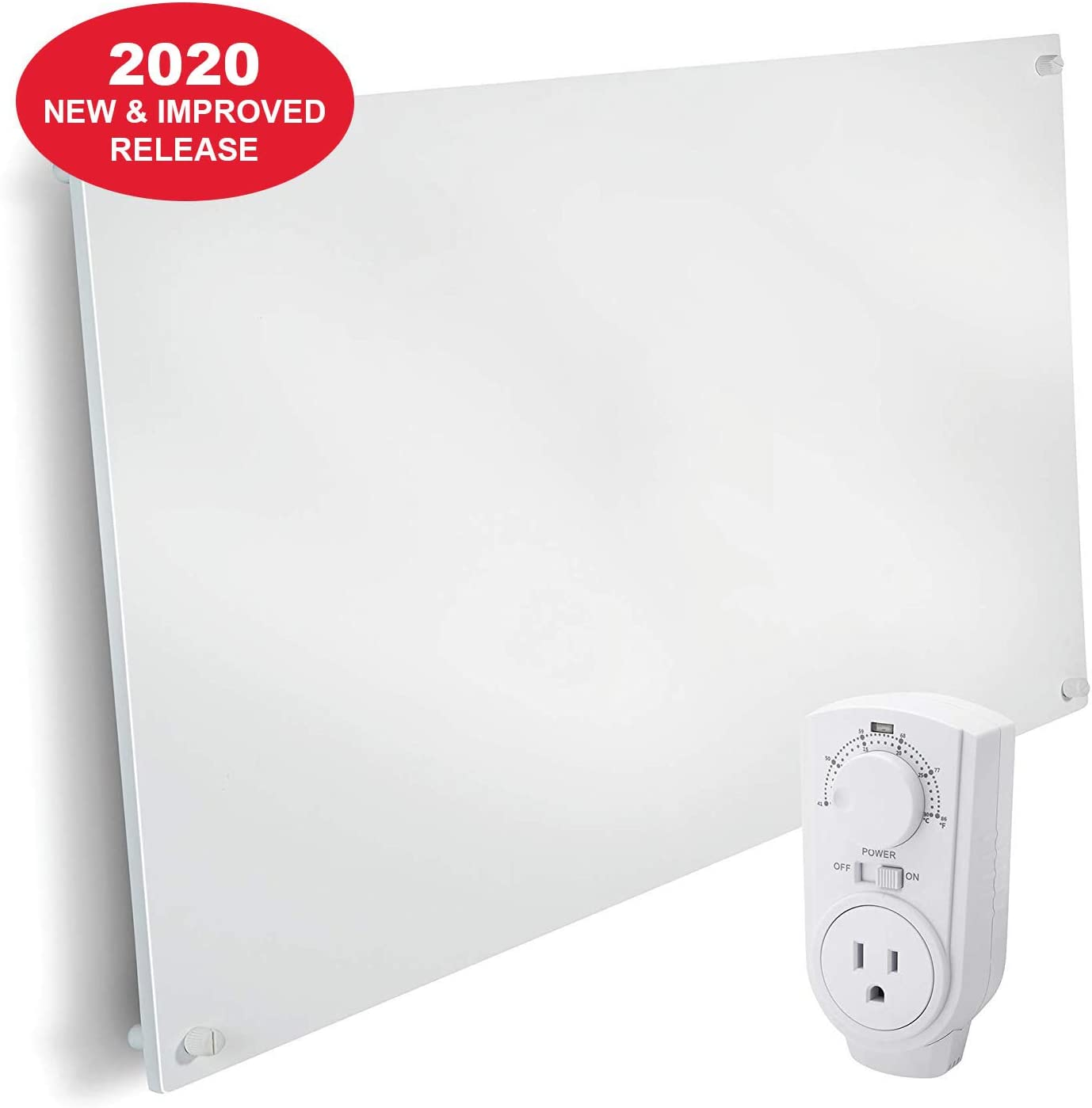 EconoHome Wall Mount Space Heater Panel - with Thermostat - 600 Watt Convection Heater - Ideal for 300 Sq Ft Room - 120V Electric Heater - Save Up to 50% of Heating Cost - with Overheat Protection
