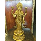 "Standing Goddess Lakshmi in Blessing Pose Statue Hindu Figurines Brass Sculpture 10"" Meditation Gift"