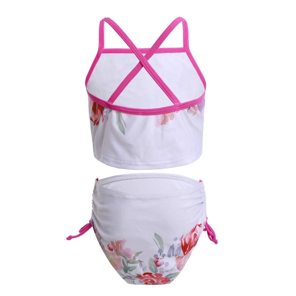 OBEEII Ragazze Costume da Bagno Unicorno Due Pezzi Bikini Tankini Stampa di Fiori Costumi da Mare Estate Spiaggia Beachwear Swimwear per Bambina 2-7 Anni