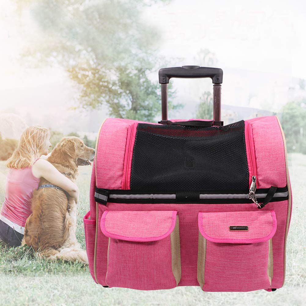 Rolling Pet Carrier, 4-in-1 Pet Travel Carrier,Pet Carrier, Backpack, CarSeat,Carriers on Wheels for Dogs and Cats (Pink)
