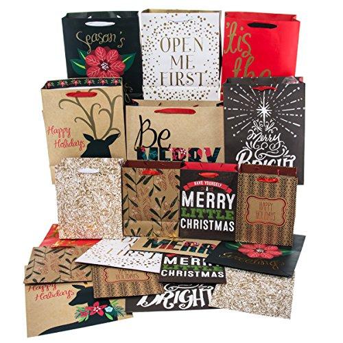 Kraft 20 Pack Christmas Gift Bags Set Holiday Small Medium Foil Glitter Handles Bulk (Christmas Gift Bags Bulk)