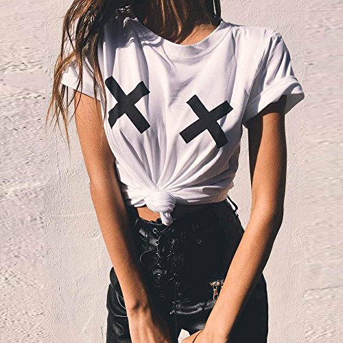 SKY Mujer Las mujeres de verano informal de manga corta impresa blusa casual Tops T-Shirt Short Sleeve Printed Blouse Casual Tops T-Shirt Blanco Blanco