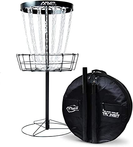 MVP Black Hole Pro 24-Chain Portable Disc Golf Basket Target & Accessories best disc golf set